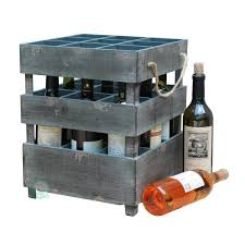 h wooden antique style stackable 9 bottle rustic gray wine crates
