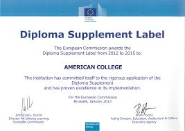 american college diploma supplement diploma supplement