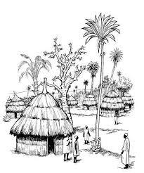 Een Afrikaans Dorp Begin 19e Eeuw Kleurplaat Kleurplaat