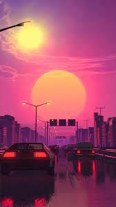 Neon City Car Retrowave Synthwave ...