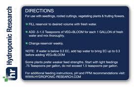 Veg Bloom Feed Chart Veg Bloom Dirty Base Nutrient 5 Lb