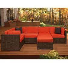 bellagio brown 6 piece all weather wicker patio sectional seating set with orange cushions