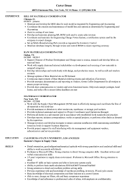 Materials Coordinator Resume Samples Velvet Jobs