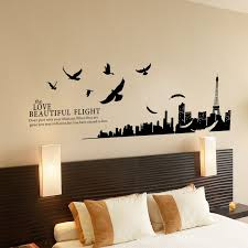 bedroom wall decorating ideas. Decoration Bedroom, Exciting Cool Wall Decorations Homemade Ideas City And Birds Decoration: Bedroom Decorating