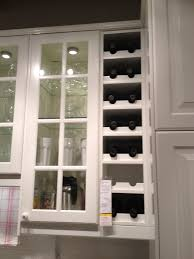 Wall Mount White Wood Opened Built In Wine Rack With White Wood Cabinet  Glass Door In