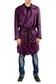 versace men s purple belted light trench coat us m it