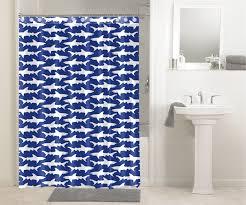 waterproof fabric shower curtain shark print