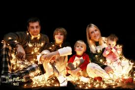 Family Christmas Photos Family Christmas Card With White Lights And Black Background