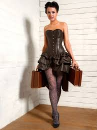 brown leather overbust corset dress bec524