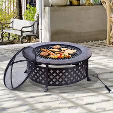 outsunny 34 fire pit with bbq grill backyard patio fire bowl outdoor bbq round stove black aosom ca