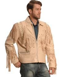liberty wear men s cream bone fringed leather jacket cream hi res