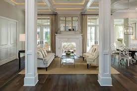 Columns in living room ideas living room traditional with white window trim  light gray