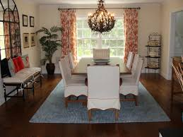 Excellent Dining Room Window Treatment Ideas Adding Beauty Aspect : Unique  Chandelier Above Wooden Table And