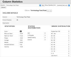grade reports and statistics blackboard help column statistics page