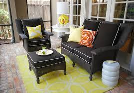 blacks furniture. yellow u0026 black sunroom with wicker furniture cushions white piping graphic rug modern garden stool kenneth wingard blacks