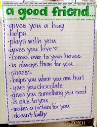 Good Friend Anchor Chart Beginning Of School Preschool