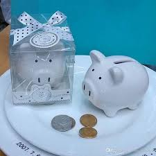 ceramic mini piggy bank in gift box with polka dot bow coin box for baby shower favors christening gifts party favors wine wedding favors winter wedding