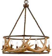 antler chandelier iron drum shape 26 wx31 h