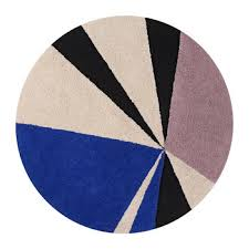 geometric klein round washable rug 160cm