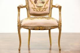 French Carved Vintage Chair Needlepoint Petit Point Upholstery