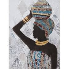 african woman with a pitcher framed oil painting print on wrapped canvas on african woman wall art with african woman wall art wayfair uk