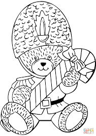 Small Picture Teddy Bear with Candy Cane coloring page Free Printable Coloring