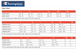 Champion Pants Size Chart Size Chart For Apparel And Tshirts