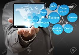 Business Tablet Business Hand Shows Success Icon Diagram And Tablet Computer