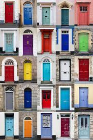 door art print featuring the photograph vertical photo collage of 25 front doors by richard thomas