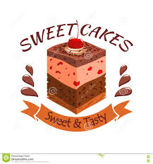 Sweet Cake With Berries Bakery Shop Emblem Stock Vector