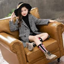 Kids girl overcoat Winter <b>new fashion Houndstooth</b> wool coat for ...