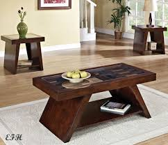 new 3pc duvani gl top dark brown cherry finish wood coffee end and table living room