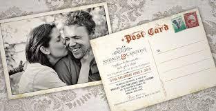 Photo Invitation Postcards Andrew Caroline Antique Postcard Wedding Invitations 709x365