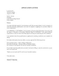 Application Letter To College Sample Application Letter For Teachers