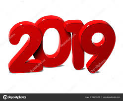3D Red New Year 2019 on white background — Stock Photo ...