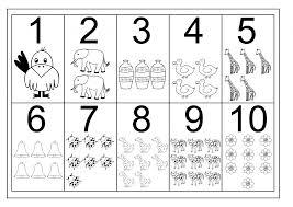 Numberorksheets For Kindergarten Chart Counting Math Tracing Ten ...