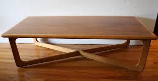 vintage danish mid century modern coffee table w cane shelf