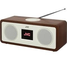 jvc ra d77m dab fm bluetooth clock radio wood cream