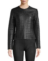 cole haanquilted collarless leather moto jacket