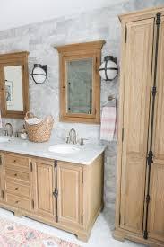 Light Oak Bathroom Furniture Modern Boho Bathroom Renovation Reveal The Leslie Style