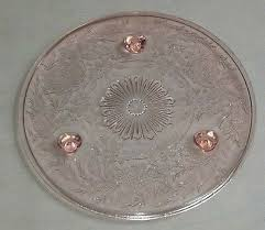 vintage pink depression glass cake plate footed glass sunburst pattern 10