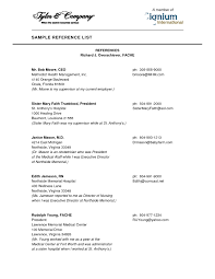 Reference Page Format Resume Resume With References Samples