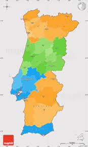 Political Simple Map of Portugal, cropped outside