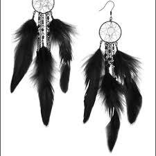 Dream Catcher Earing Extraordinary HM Jewelry Hm Black Feather Dreamcatcher Earrings Poshmark
