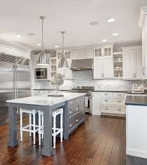 kitchens with white cabinets. Grey Cabinets For White Kitchen Island With Hanging Lamps Kitchens