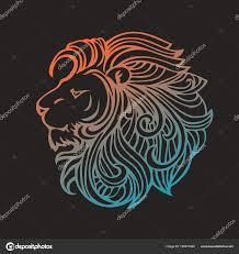 этническим узором богато руки Drawn головы льва черный и белый