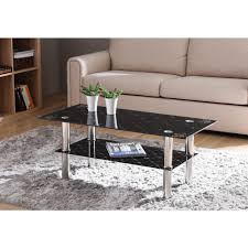 hodedah black rectangular tempered glass 2 tier coffee table with chrome plated legs