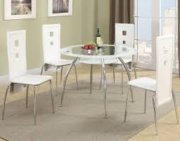 poundex f2210 round metal dining table with glass top and white trim
