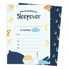 B Day Invitation Cards Boys Sleepover 2 Happy Birthday Invitations Invite Cards 25 Count With Envelopes Seal Stickers Vinyl Boys Kids Party