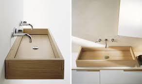 bathroom design idea install wood sinks for a natural touch